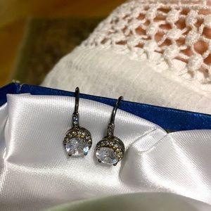 Black rhodium white fiery topaz pierced Earrings